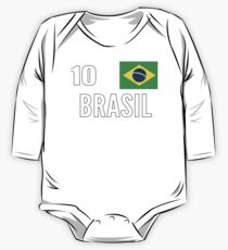 Brazil World Soccer Cup Jersey Number 10 World Football Cup 2018 One Piece - Long Sleeve