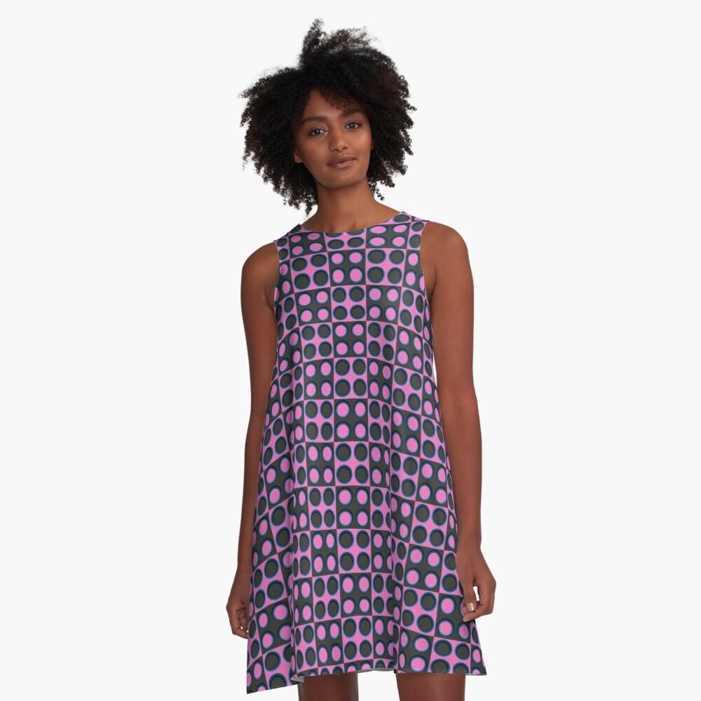 Pattern - 'Pink Dice'. A-Line Dress Front