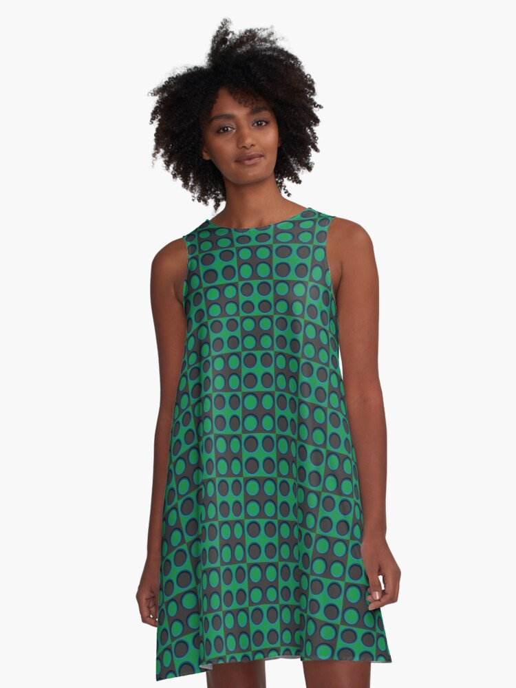 Pattern - 'Green Dice'. A-Line Dress Front