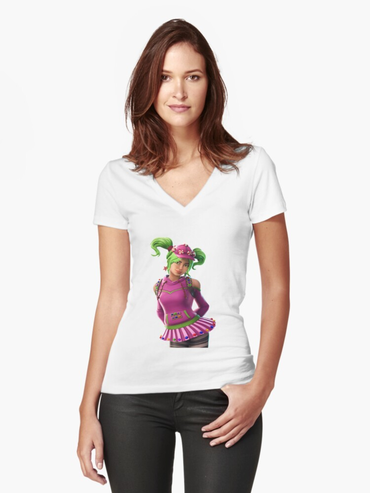 Candy Girl Women's Fitted V-Neck T-Shirt Front