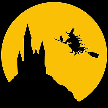 Witch Flying in Full Moon Silhouette by rogerpmit2