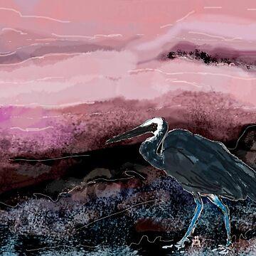 Heron - pink night.  by artenjoyment
