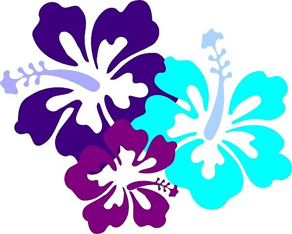 Blue, purple and pink beach flowers by Rellain
