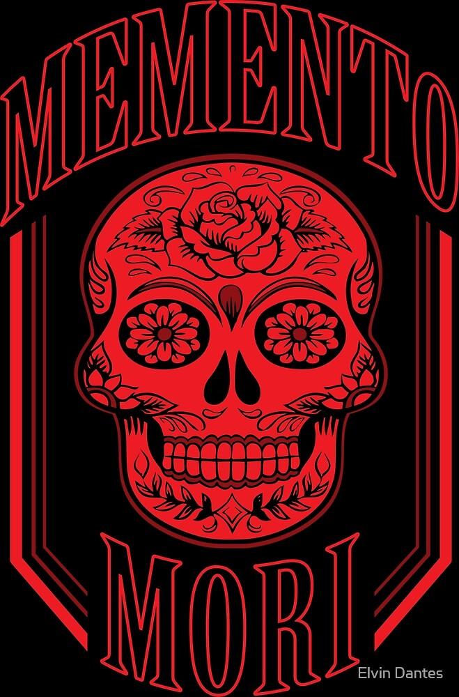 Red Memento Mori (with a calavera/sugar skull) by Elvin Dantes