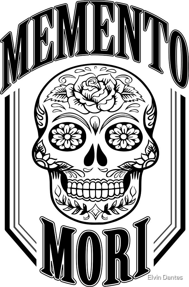Black Memento Mori (with a calavera/sugar skull) by Elvin Dantes