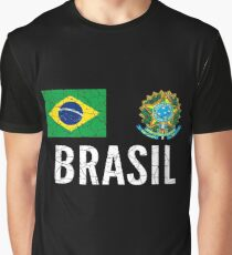 Brazil World Soccer Cup Jersey World Football Cup 2018 Vintage Distressed Graphic T-Shirt