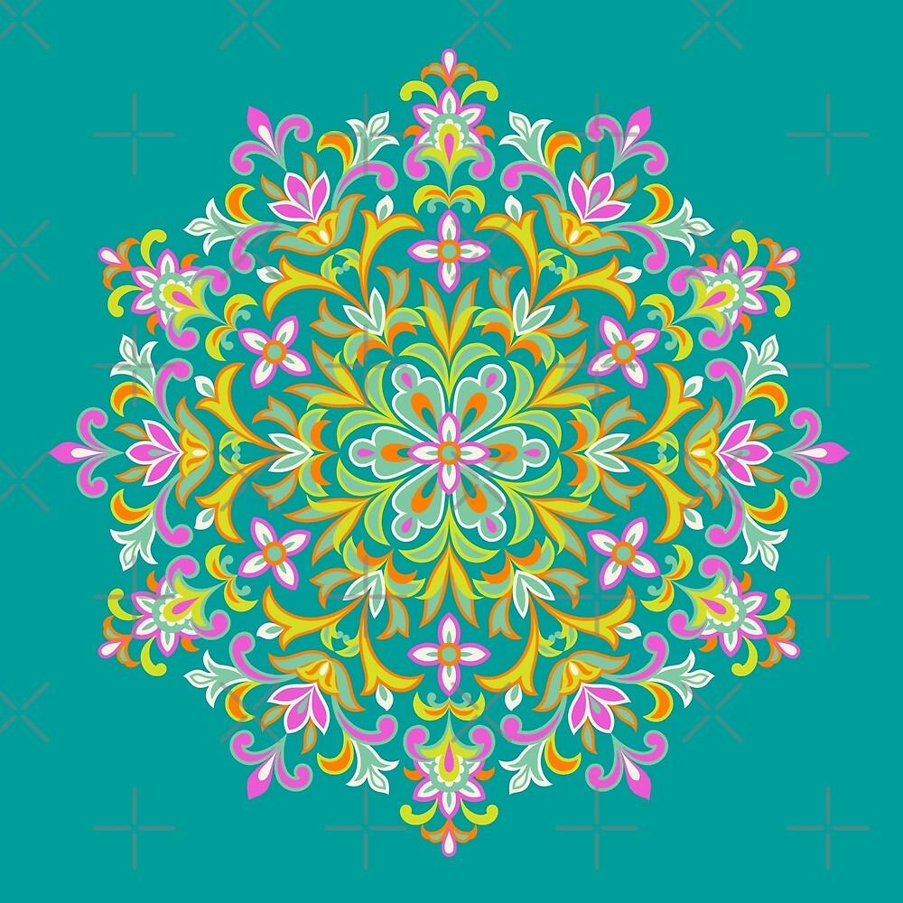 Multicolored  Ethnic Floral Kaleidoscope by IcArtsyOrigin8