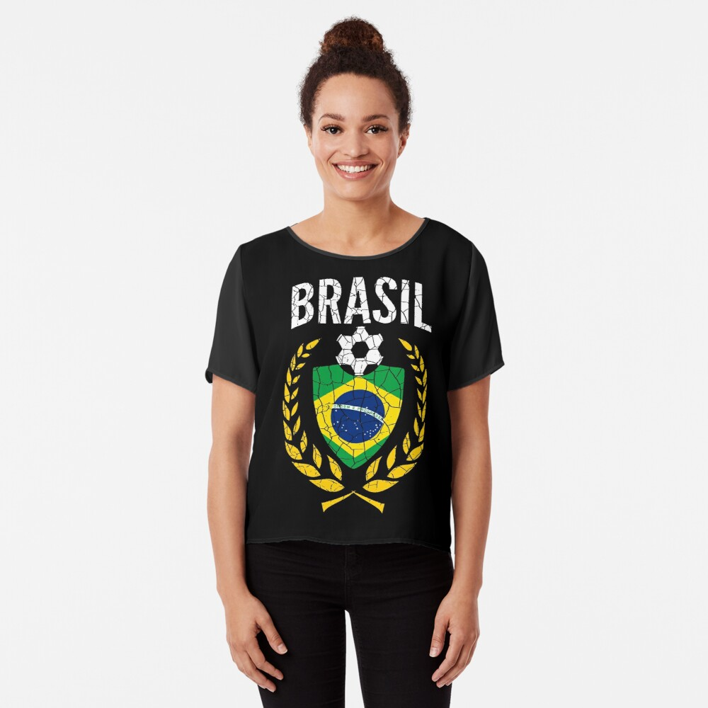 Brazil World Soccer Cup Jersey Laurel World Football Cup 2018 Vintage Distressed Women's Chiffon Top Front