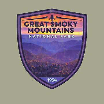 Great Smoky Mountains National Park Vintage Smokies Badge Design   by robotbasecamp