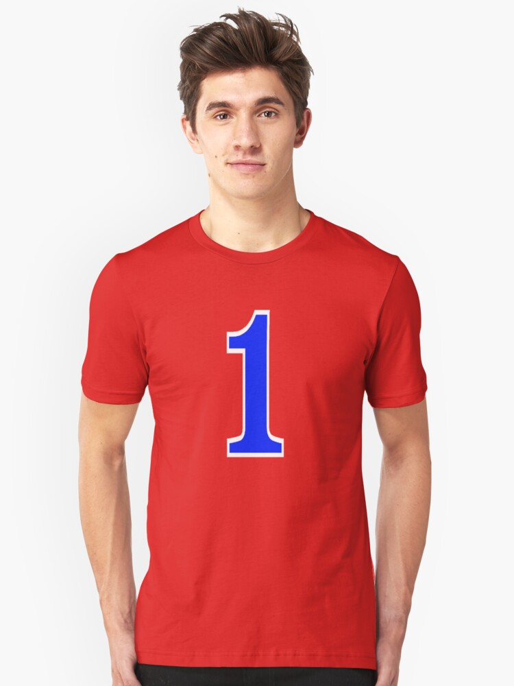 Blue number one with white border, Wilt Unisex T-Shirt Front