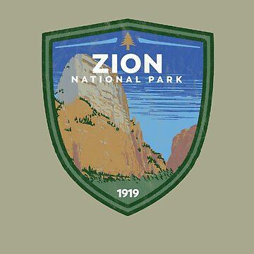 Zion National Park Vintage Utah Badge Design   by robotbasecamp