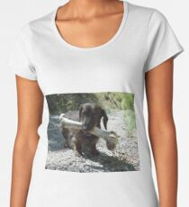 Small dog and a large bone Women's Premium T-Shirt