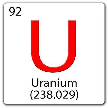 Periodic Chemical tile U. Uranium 238 by stuwdamdorp