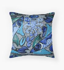 Deep Blue and Aqua Mediterranean Fish and Octopus Painting Throw Pillow