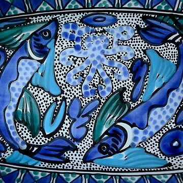 Deep Blue and Aqua Mediterranean Ceramic Fish and Octopus Painting by HotHibiscus