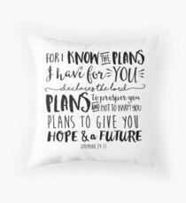 Kalligraphie-Bibel-Zitat Jeremia 29:11 Bodenkissen
