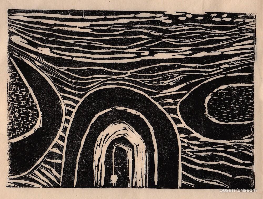Circles Linocut by Susan Grissom
