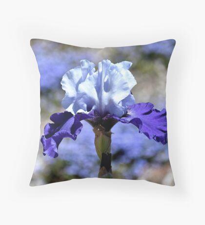 Iris - Blue On Blue Throw Pillow
