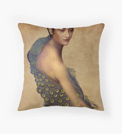 Peacock dress Throw Pillow