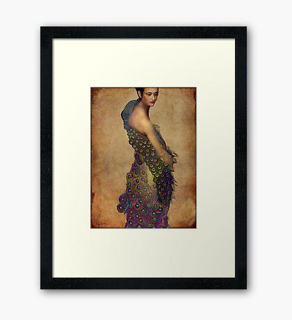 Peacock dress Framed Print