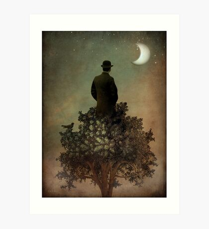 Man in tree Art Print