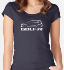 VW Golf R silhouette White Women's Fitted Scoop T-Shirt