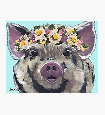 Cute Pig Art, Farmhouse pig with flower crown Photographic Print