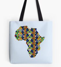Zulu Beads in Shape of Africa  Tote Bag