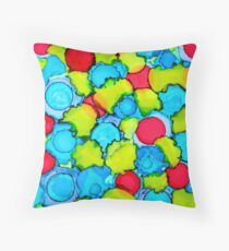 Dots, Splots & Forget Me Nots Abstract Alcohol Ink Art Floor Pillow