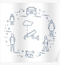 Security camera, dog, women, girl, man, car. Poster