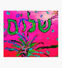 Shalom Celebrate Peace Green/Pink Photographic Print