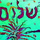 Shalom Celebrate Peace blue and pink by hdettman