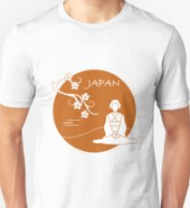Branch of cherry blossoms and asian woman. Unisex T-Shirt