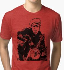Marlon Brando, The Wild One, Motorcycle, black and white, old film, Biker, Old Biker Tri-blend T-Shirt