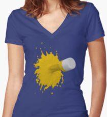 gelber Farbklecks Tailliertes T-Shirt mit V-Ausschnitt