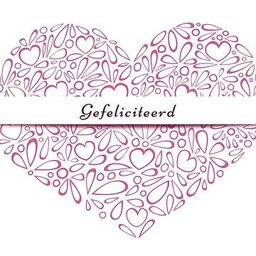 """""""Gefeliciteerd"""" in a red heart by MaijaR"""
