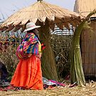 Woman of Uros Island, Lake Titicaca, Peru by Lucinda Walter
