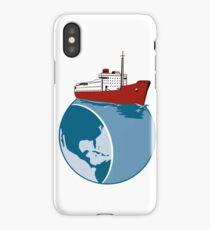 Vintage Passenger Ship on Top of World Retro iPhone Case