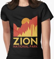 Zion National Park T-Shirt -Outdoor Camping Hiking Tee Shirt Women's Fitted T-Shirt