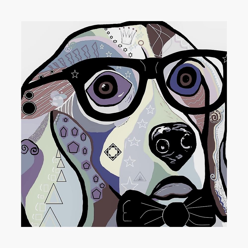 Sophisticated Beagle Denim Photographic Print