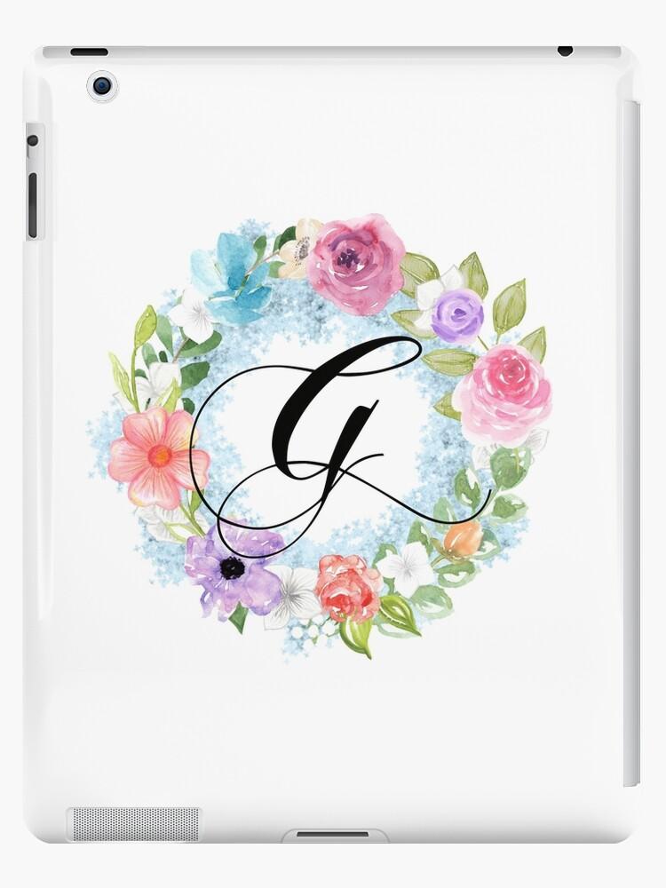 55053b8b49b8e 'Watercolor Floral Wreath Monogram Letter G' iPad Case/Skin by Grafixmom