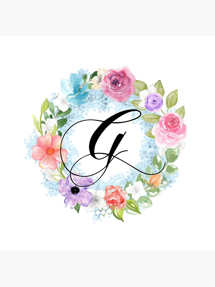 Watercolor Floral Wreath Monogram Letter G by Grafixmom