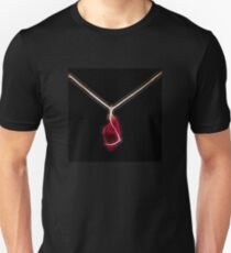 intense red crystal gold necklace mon bijou by neonflash T-Shirt