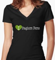 I Heart Staghorn Ferns | Love Staghorn Ferns  Women's Fitted V-Neck T-Shirt