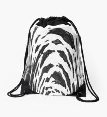 Black Zebra by Margaret juul Drawstring Bag