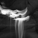 Flowing Sand in Antelope Canyon ~ Black & White by Lucinda Walter