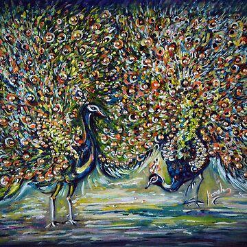 Peacocks - impressionist  by hlmalik