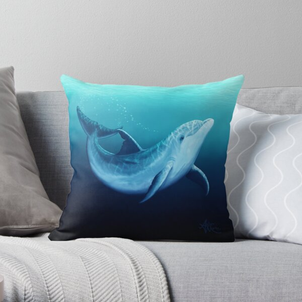 """Riversoul Blue"" by Amber Marine ~ bottlenose dolphin digital painting, art © 2014 Throw Pillow"