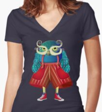 My Owl Red Pants Women's Fitted V-Neck T-Shirt