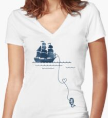 Long Distance Love Women's Fitted V-Neck T-Shirt